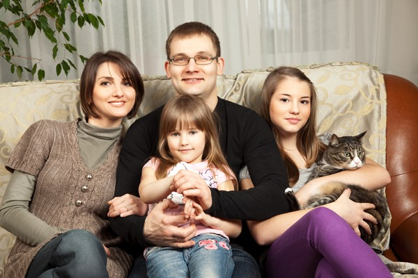 Happy Family with a cat